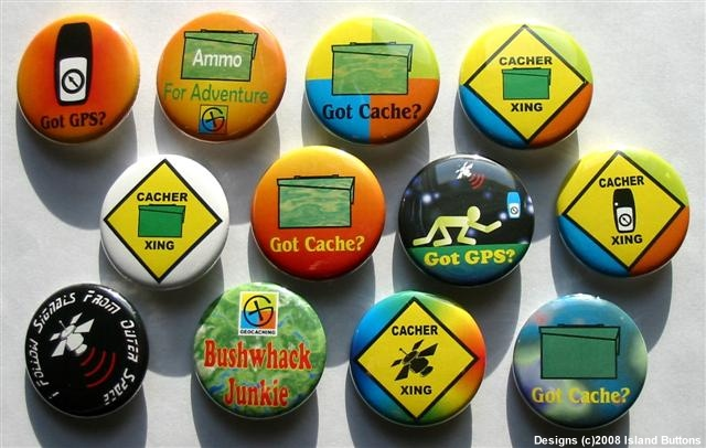 #Geocaching Button Set 1 (12 Pins, 12 Designs, Cacher Xing & More)