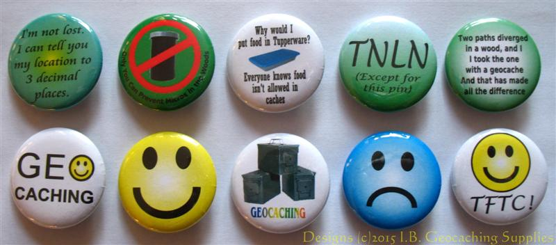 Geocaching Button Set 2 (10 Pins, 10 Designs, Smileys & More)