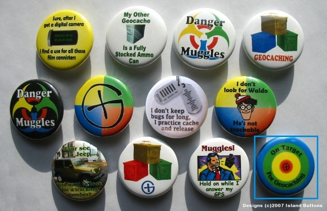 #Geocaching Button Set 3 (12 Pins, 12 Designs, Muggles & More)