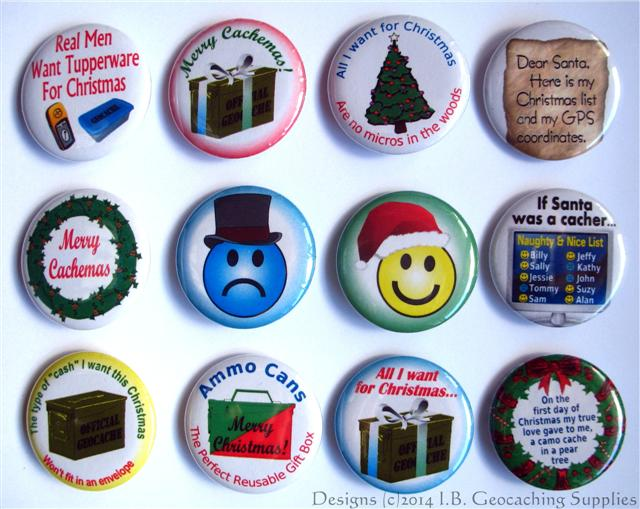#Geocaching Button Set 52 (12 Pins, 12 Designs, Holiday Set)