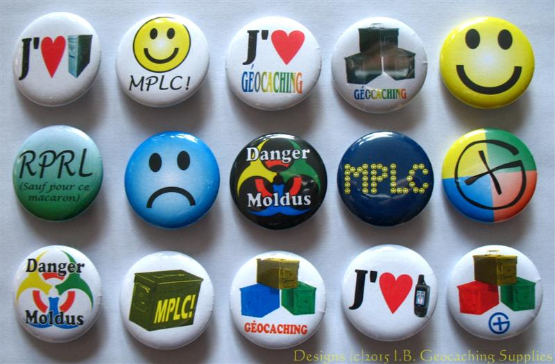 Geocaching Button Set 81 (15 Macarons, 15 Designs, Designs Differents)