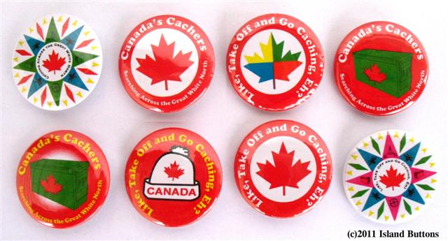 #Geocaching Button Set 9 (8 Pins, 8 Designs, Canadian Set)
